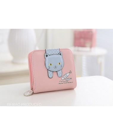 Dámská peněženka růžová s šedou kočkou