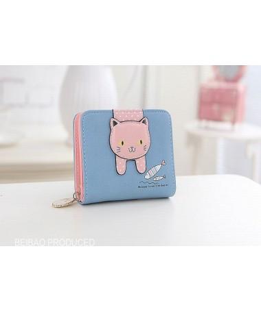 Dámská peněženka modrá s růžovou kočkou