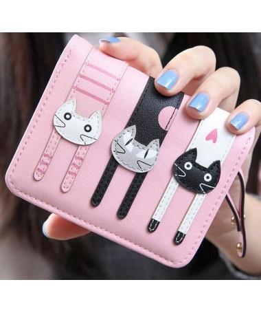 Dámská peněženka malá 3 kočky s aplikací