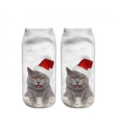 Kotníkové ponožky vánoční kocour