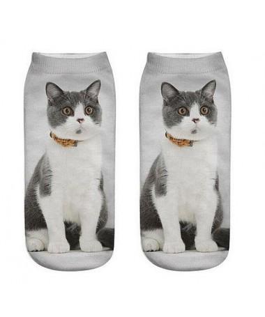 Kotníkové ponožky cernobílý kocour