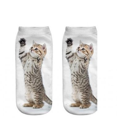 Kotníkové ponožky stříbrné koťátko