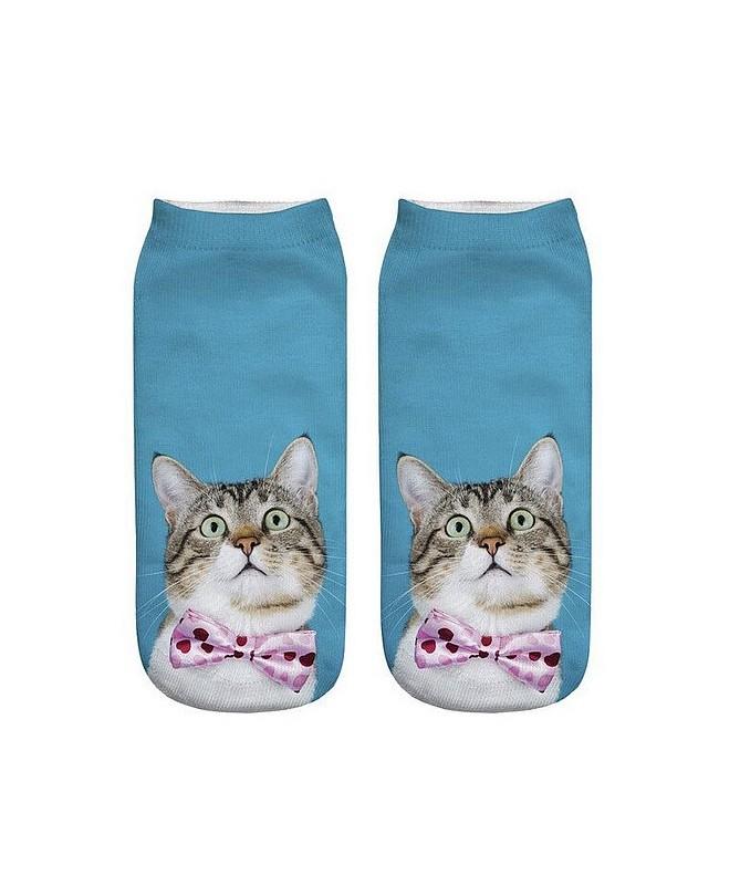 Kotníkové ponožky Kocour s motýlkem