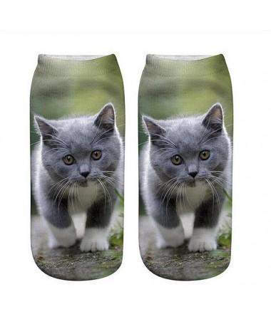 Kotníkové ponožky Kotě na louce
