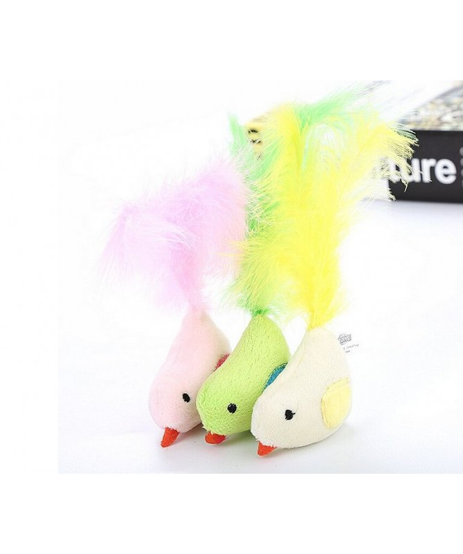 Hračka barevný ptáček s peřím