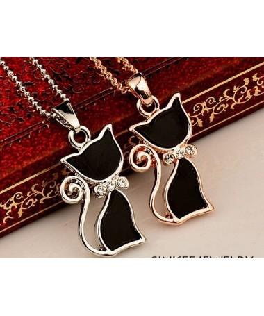 Náhrdelník Černá kočka-stříbrná varianta
