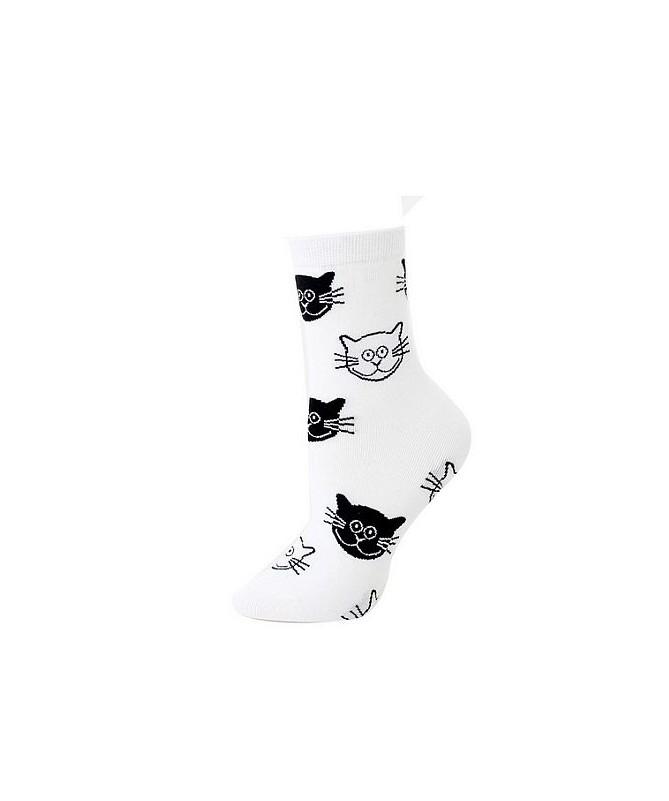 Teplé ponožky s kočičími hlavičkami