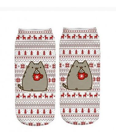 kotníkové ponožky Pusheen vánoce