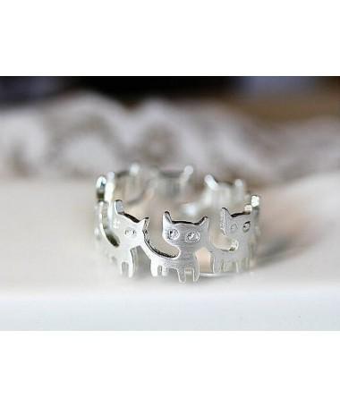 Prstýnek Kočičí řetěz stříbrný
