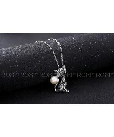 Náhrdelník Kočka s perlou